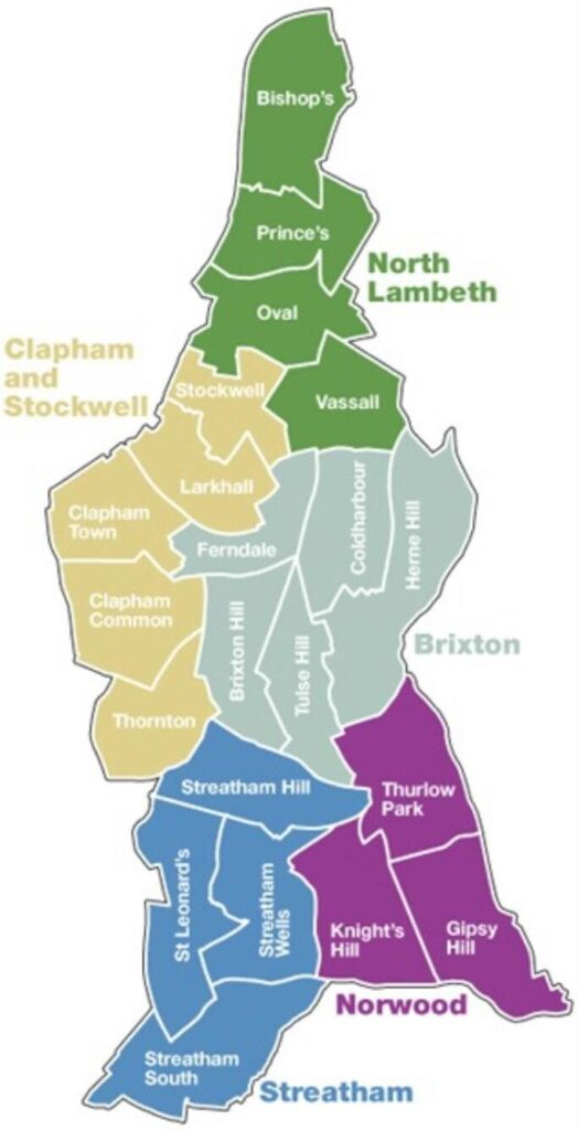 Map of Lambeth wards